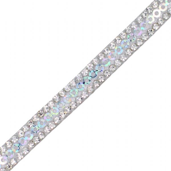 1 metre x 7 mm Clear Crystal and  pearlescent sequin